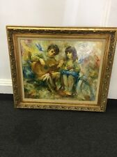 "Vilmon Original Oil Painting ""Children"" W. T. Burger Co. Framed Canvas"