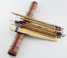 "LOT OF 8 PCS ""Santu""Chinese Ink detail Painting Gongbi Sumi-e Brush+Bamboo Bag"