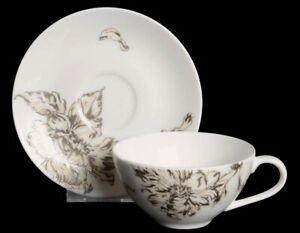 RALPH LAUREN Bone China Flat Cup & Saucer Set BOUQUET Pattern Discontinued