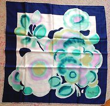 Jean Desses Paris Foulard OP Art Silk Scarf Print Flower Teal Blue  NIB  Vintage