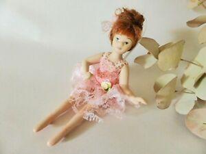 Miniature Porcelain Ballerina Pose Doll, Vintage Hand Painted Porcelain Doll