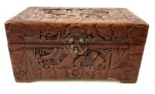 Antique Chinese Carved Camphor Wood Box Lot 1267