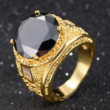 Fashion Women's Size 10 Round Cut Black Sapphire 18K Gold Filled Wedding Ring