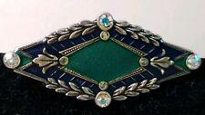+ Crystal Pin Brooch #8262 Catherine Popesco Silvertone Blue Green Enamel