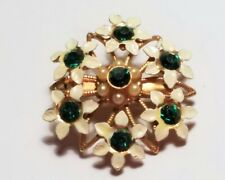 Flower Pedal Brooch Lapel Pin Scarf Gold Tone White Green Gem Stone Floral