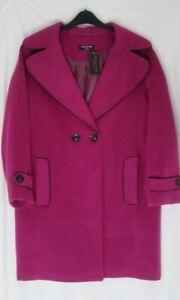 Ladies Fuchsia Wide Lapel Oversize Boyfriend Style Coat SIZE 8