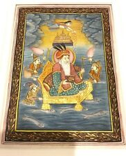 Antique Indian Miniature Painting Mughal Emperor King Fine Detailed Gold Work