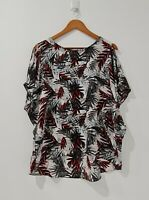 [Suzanne Grae ] Women's Short Sleeve Blouse Palm Printed Top  | Size L