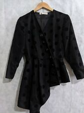 Lanvin Vintage 70s Polka Dot Velvet Asymmetric Black Party Dress France