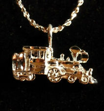 * STEAM TRAIN * Locomotive Engine w Tender Pendant * FREE Chain * Made in USA *