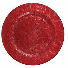 EMBOSSED RED CHARGER PLATE PLACE MAT TABLE WEAR UNDER PLATE DINNER 33cm