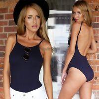 Womens Cotton Scoop Neck Dipped Back BACKLESS Bodysuit Leotard Tops Jumpsuit C5