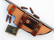 Custom Handmade Horizontal Left Hand Tracker Knife Leather Sheath Peach  S2