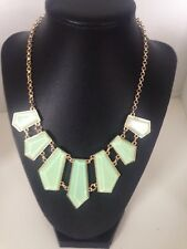 Stephan & Company Geometric Necklace Opaque Green  Cabochon Goldtone Chain $22