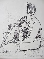 Ronald searle, Lithographie, hommage à toulouse-lautrec, 1969, signée