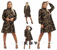 Ladies Women Victorian Chain Print Designer Inspired Long Sleeve Dress Top