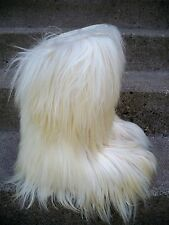 Vtg Roluc Ideal Goat Silver Fur Snow Yeti After Ski Boots Women's 42/ 11-11.5 US