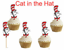Cat in the Hat Dr. Seuss Cupcake toppers,cakepop toppers,cupcake decors(24pcs)