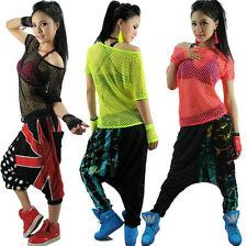 Kids Adult Hollow out hip hop top dance Jazz Mesh costume wear neon Sexy t-shirt