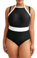 Terra & Sky Women's Plus Solid Black One Piece Swimsuit Rich Black 5X (32W-34W)