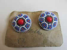Vintage French Seed Bead Clip on Earrings Geometric Floral Made in France