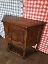 Old Charm Wood Bros Solid Oak Canted Side Cupboard Table Cabinet Model 1434