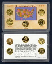 FIRST YEAR ~1999 24k GOLD LAYERED STATE QUARTERS ~ BEAUTIFUL PRESENTATION
