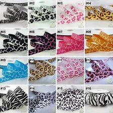 "3/8"" 5/8"" 7/8"" 1"" 1.5"" Mixed Zebra Leopard Grosgrain Ribbon 2 Yards/10 Yards"