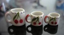 3 Mug Coffee Cherry Hand Painted Mix Size Dollhouse Miniatures Ceramic Food