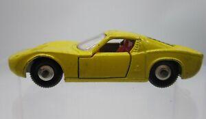 Vtg 1960s Matchbox Lesney #33 Lamborghini Miura Yellow Silver Hub Caps