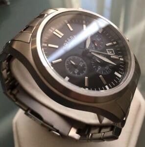 Men's Genuine Rotary Chronograph Black Designer Watch Brushed Steel Date 24hour