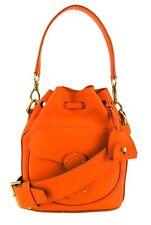 Ralph Lauren Orange Leather Small Ricky Drawstring Bucket Crossbody Bag