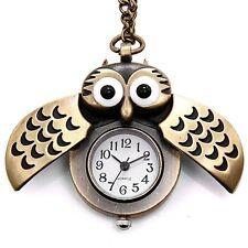 Steampunk Retro Gift Quartz Analog Necklace Owl Watch Pendant