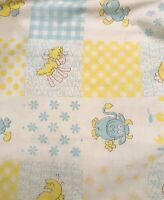 Vintage 70's Baby Bed Fitted Crib Sheet Animals Ducks, Sheep, Cow Story Book
