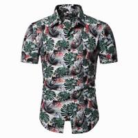 Floral tops summer t-shirt casual short sleeve formal luxury slim fit men's