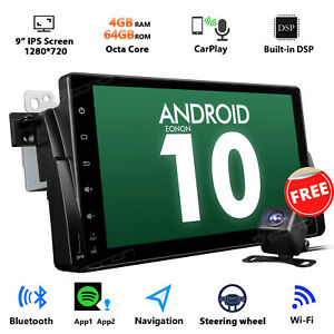 """CAM+Android 10 9"""" 4+64G IPS Car GPS Tracker Stereo Radio WiFi for BMW E46 M3 325"""