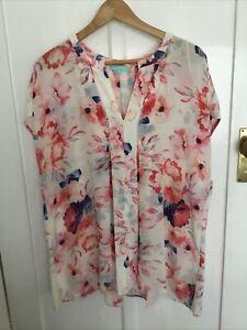 Blue Illusion Silk Top Size 4