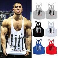 Cool Men Gym Singlet Stringer Muscle Tank Tops Fitness Sport Shirt Y BACK Racer