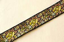 """Jacquard, Ribbon Trim. A Jungle of Flowers 1¼"""" Wide 3 yards Olive pale yellow"""