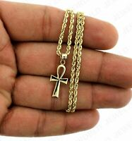 10K Yellow Gold Egyptian Ankh Cross Charm Pendant With 2mm Rope Chain Necklace