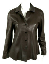 PETER COHEN Chocolate Brown Leather Collared Button-Front Jacket S