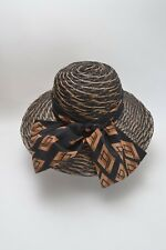Stunning Vintage 70s Wide Brim Ladies Hat Geometric Design Large Bow Detail