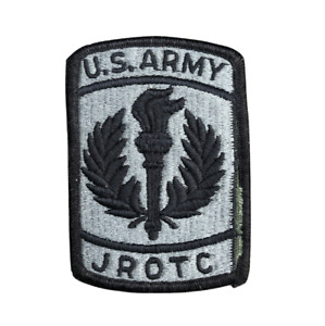 U.S. ARMY JROTC Embroidered Patch Black Gray Hook Loop
