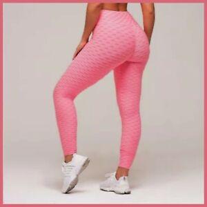 Women Ruched Push Up Leggings Yoga Pants Anti Cellulite Sport Scrunch Trousers S