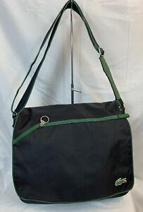Lacoste Black/Green Flap Crossover Messenger Laptop-Men-Satchel Designer Bag