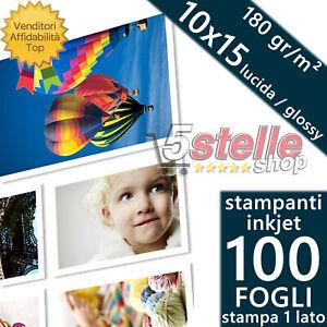 100 FOGLI CARTA FOTOGRAFICA A6 FOTO 10X15 GLOSSY LUCIDA 180 GR STAMPANTI INKJET