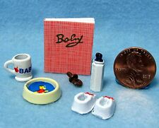 Dollhouse Miniature Baby Nursery Accessory Set, Bowl, Shoes, Bottle, Etc IM65416