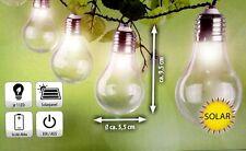 Solar Lichterkette mit 10 LEDs Glühbirnen Optik  Garten Beleuchtung Solarleuchte