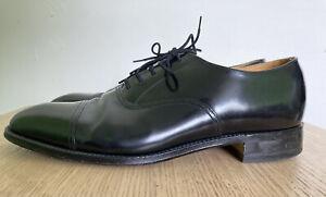 LOAKE Men's Black Oxford Dress Shoes 7.5 Polished Leather Made England Lace Up