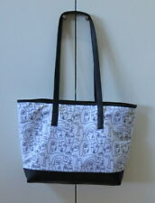 NEW Pretty White with Black Face Drawings Tote Bag